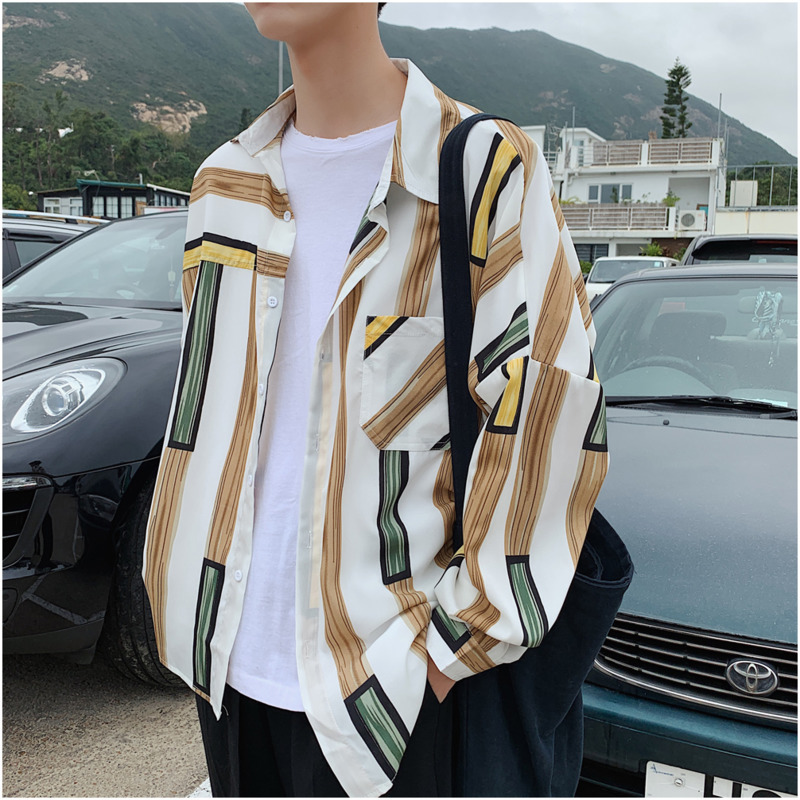 Autumn Stripe Splicing Long Sleeve Work Clothes Shirt Streetwear Hip Hop Men Slim Casual Camisa Camiseta Masculina Harajuku(China)