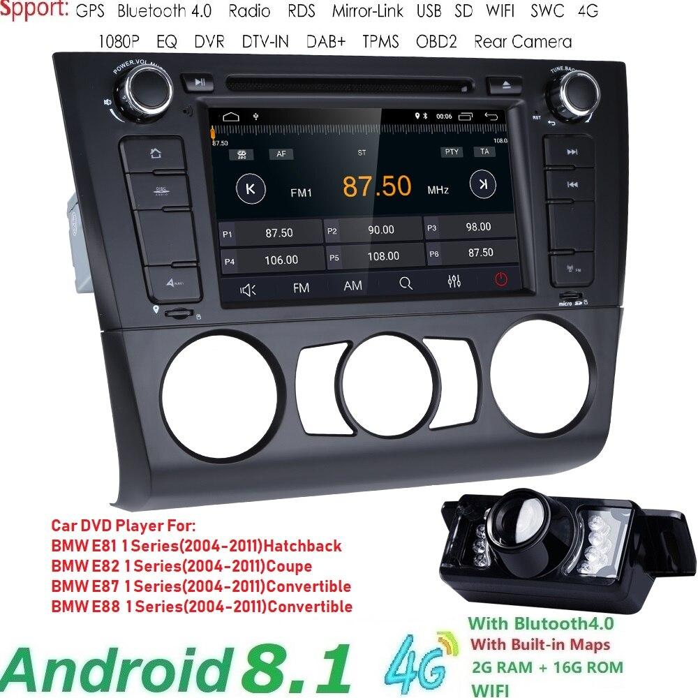 Livraison gratuite Android8.1 voiture multimédia pour BMW E81 E82 E88 2004-2011 1 série avec 2G RAM Radio ampli SWC DVR RDS DAB DVBT 4 GWIFI