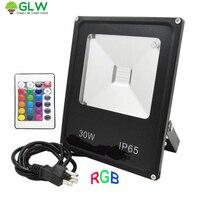 GLW 30W RGB Remote Control Floodlight Waterproof Led Flood Light Outdoor Lighting Focos 220V 110V Exterior Led Landscaping Light