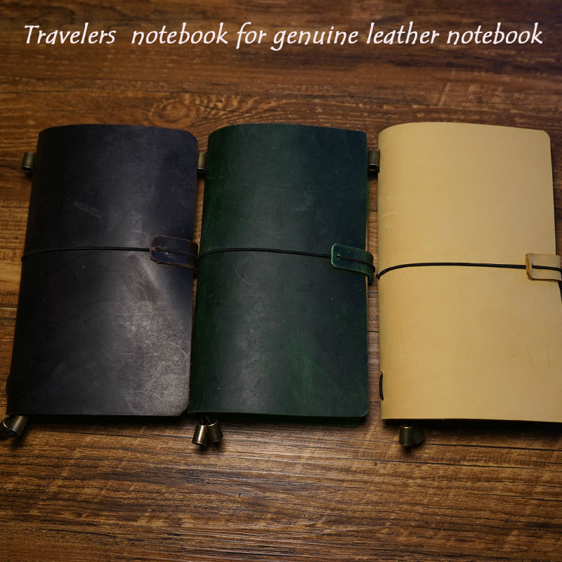 New genuine leather handcraft notebook travelers journal 7 colors have protect belt free engrave name school supplies notebook sosw fashion anime theme death note cosplay notebook new school large writing journal 20 5cm 14 5cm
