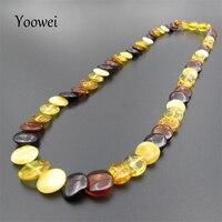 Yoowei 45 см Amber Цепочки и ожерелья для Для женщин Европейский Стиль оригинальный круглый плоский шарик взрослых натурального Балтийского янта...