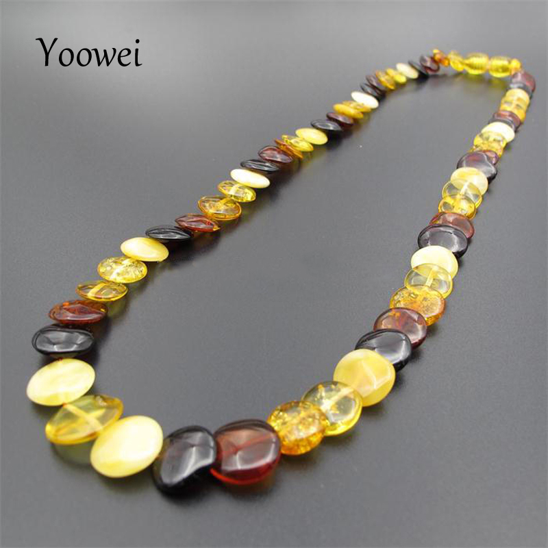 Yoowei 45cm Amber Necklace for Women European Style Original Round Flat Bead Adult Natural Baltic Amber Collar Jewelry Wholesale
