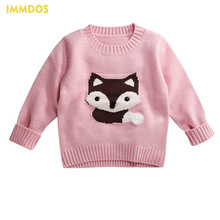 IMMDOS  Girls Clothing 2017 New Winter O-neck Children Sweater Baby Cardigan Fox Cartoon Pattern Knitted Sweaters Kid's Clothes