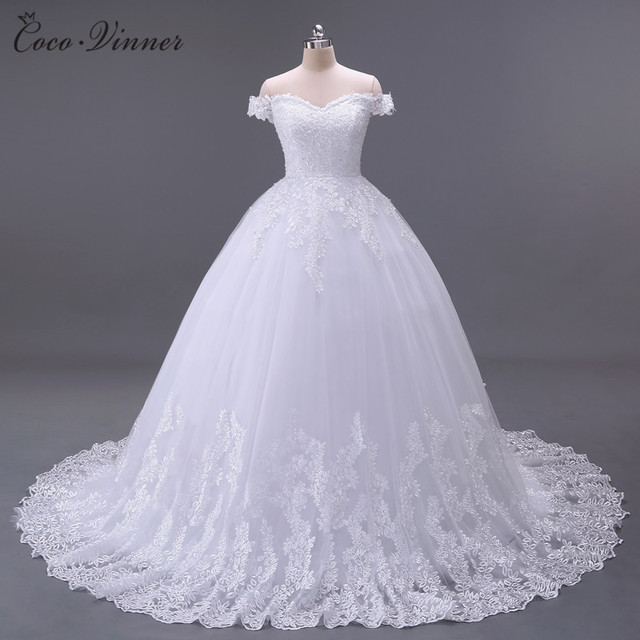 C.V Arabic Luxury Lace Ball Gown Short Sleeve Wedding Dress 2018 ...