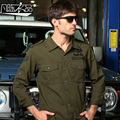Cargo Shirts For Men Long-Sleeved Army Green Shirt Male Large Size Uniform Shirt Cotton Tooling Pilot Shirt A911