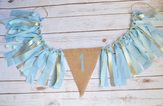 Pastel Blue Baby First Birthday Party Decorations The Kid High Chair Tie Banners 1st Garland Gold Wave Stripes Burlap Flag In