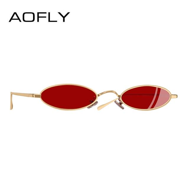 205c97f873 AOFLY BRAND DESIGN NEW Sunglasses Women Men Small Oval Sunglasses For Male  Retro Metal Frame Shades