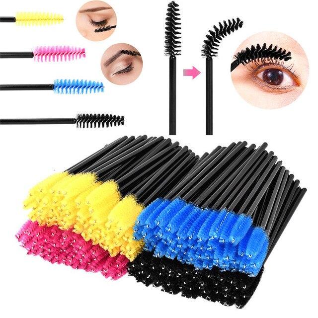 2017 * maquillaje 200 piezas brocha de maquillaje fibra sintética One-Off cepillo de pestañas desechable