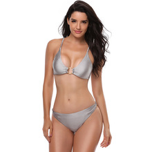 купить Women Sexy Push Up Bikini Set Silver Solid Color Brazilian Swimwear Halterneck Swimsuit Thong Bathing Suits 2019 Mujer Biquinis дешево