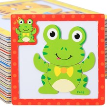 Купить с кэшбэком Wooden Toy 3D Magnetic Puzzles Wooden Baby Toys Tiger/Bear/Frog Cartoon Animals Refrigerator Magnet Educational Gift