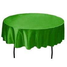 145 cm Redonda hecha a mano del Paño de Tabla Del Satén Cubre mesas de Mantel De la Boda Home Party restaurante Decoración De Navidad verde