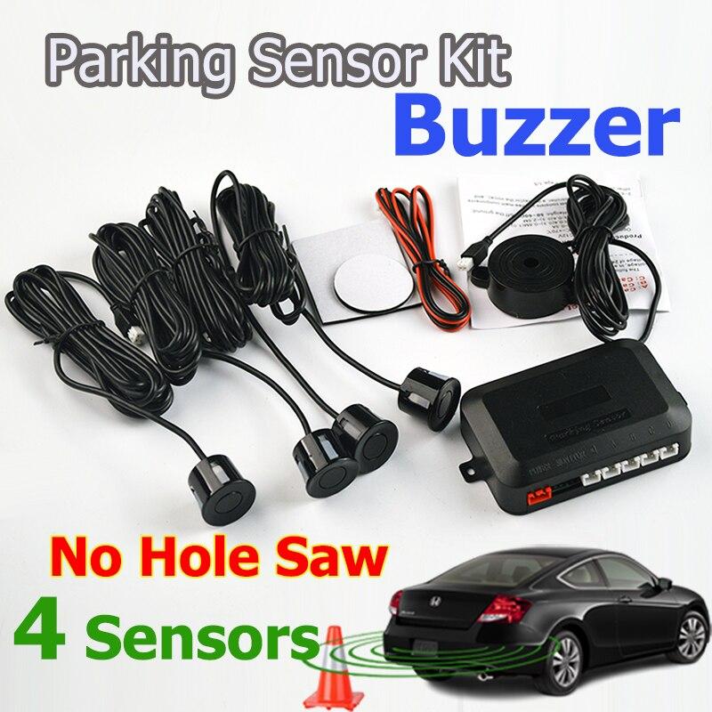 imágenes para 4 Sensores Zumbador No Taladro Agujero Consideró 22mm Sensor de Aparcamiento de Coches Kit del Radar del Revés del Sistema Indicador de Alerta de Sonido 7 Colores Liberan El Envío