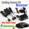 4 Sensors Buzzer No Drill Hole Saw 22mm Car Parking Sensor Kit Reverse Radar Sound Alert Indicator System 7 Colors Free Shipping