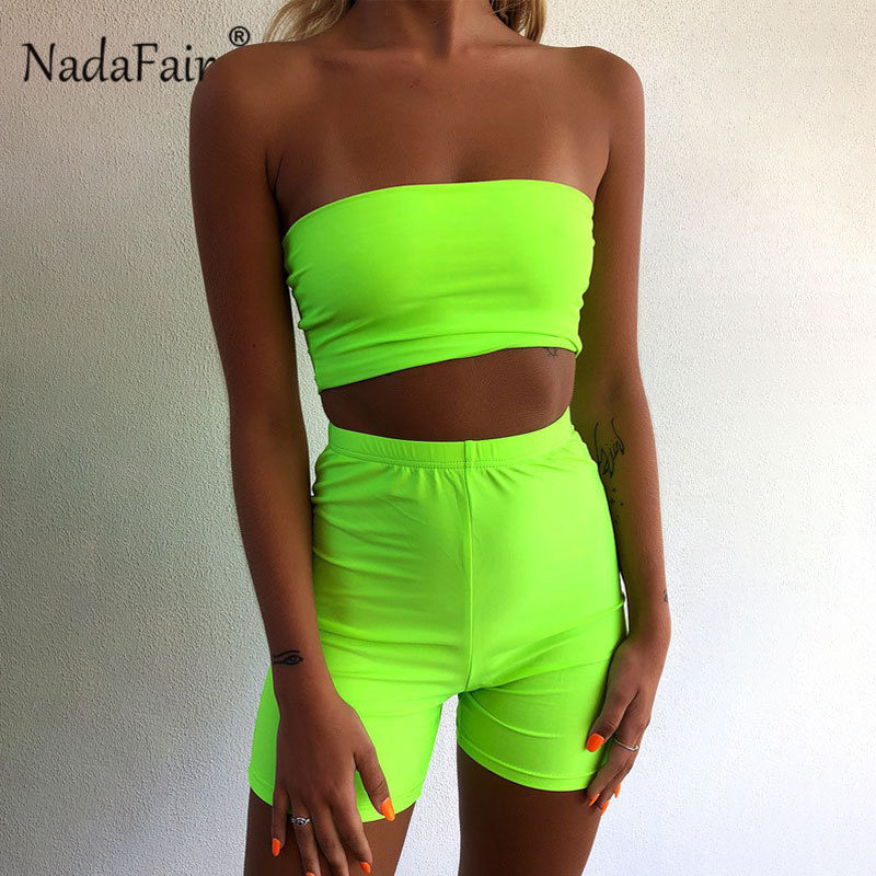 FSDA Neon 2019 Summer Two Piece Set Backless Off The Shoulder Bodycon Tracksuit Crop Tops And Biker Shorts Women Sexy
