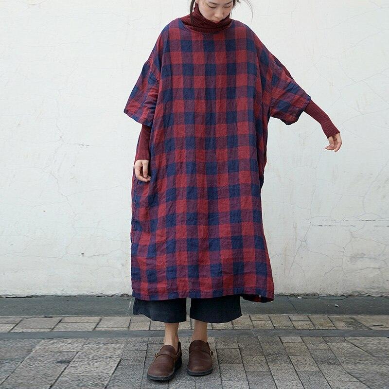 Johnature 2019 Spring New Plaid Dress Women Linen O Neck Half Sleeve Vintage High Quality Women