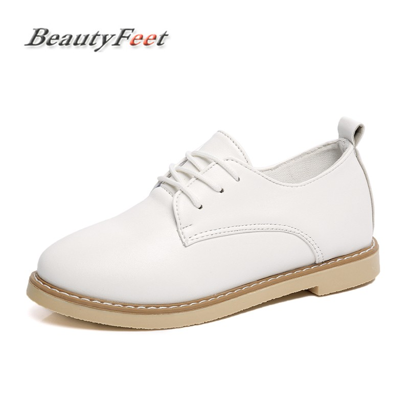 BeautyFeet Women Oxfords Shoes Ballerina Flats Pu Leather Lace Up Moccasins Ladies Casual Shoes Woman Brogues Zapatos Mujer beautyfeet women shoes female genuine leather lace up casual shoes woman flats white shoes candy color breathable ladies shoes