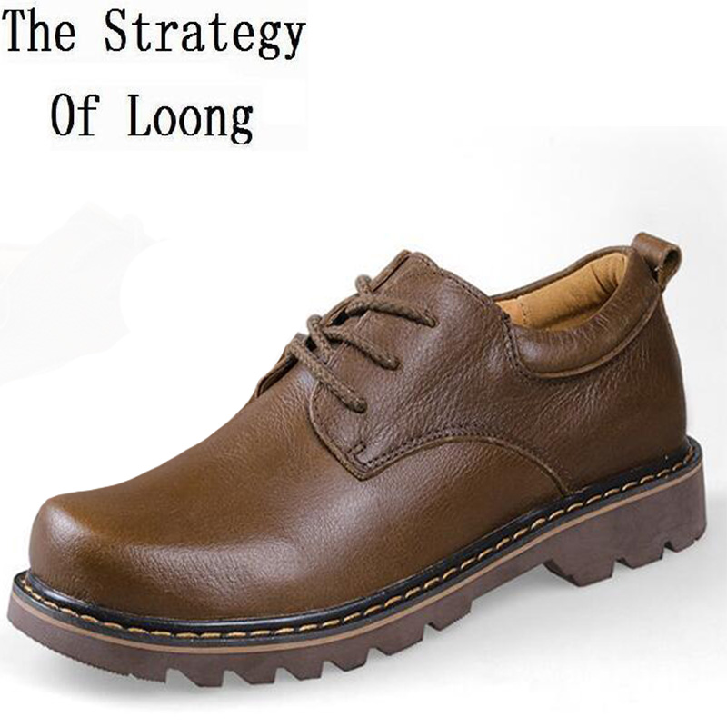 2017 New Arrival Men Autumn Winter Flats Genuine Leather Lace Up Low Cut Round Toe Fashion Casual Shoes Plus Size 39-47 SXQ0710 new arrival fashion rivets men leather shoes men s lace up breathable pointed toe casual shoes low leisure man shoes size 38 44