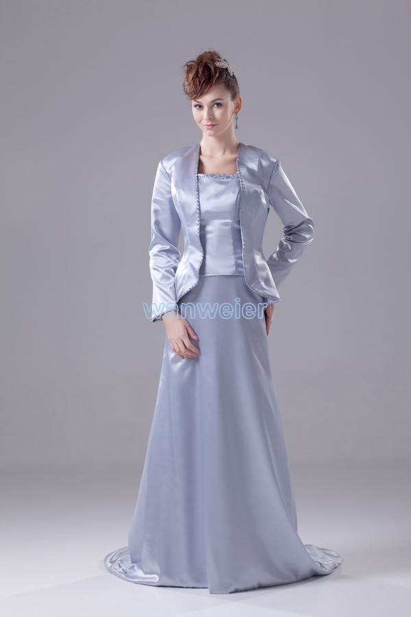 Free Shipping Formal Gown 2016 New Custom Color/size Long Sleeve Brides Maid With Jacket Plus Size Mother Of The Bride Dresses