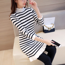 Suhuai Women's Knitting Dress Autumn Winter 2017 New Fashion Elegant Striped Folds Turtleneck Slim Knitted Sweater Dress Female