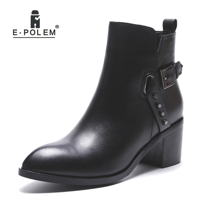 Fashion Female Martin Boots Punk Rivet Ankle Boots for Women Genuine Leather Chelsea Boots Belt Buckle Zipper Boots women martin boots 2017 autumn winter punk style shoes female genuine leather rivet retro black buckle motorcycle ankle booties