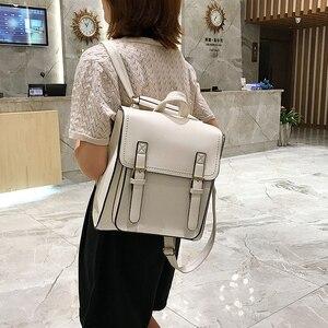 Image 3 - Vintage Backpack Female Pu Leather Bag Womens Backpack Fashion School Bag for Girls High Quality Leisure Shoulder Bag Sac A Dos