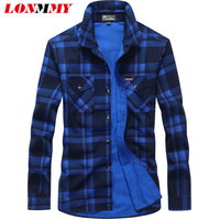 LONMMY 4XL Long sleeves shirts men Plaid slim fit Stripes Cotton mens shirts dress casual Green Blue New 2018 Spring blouses