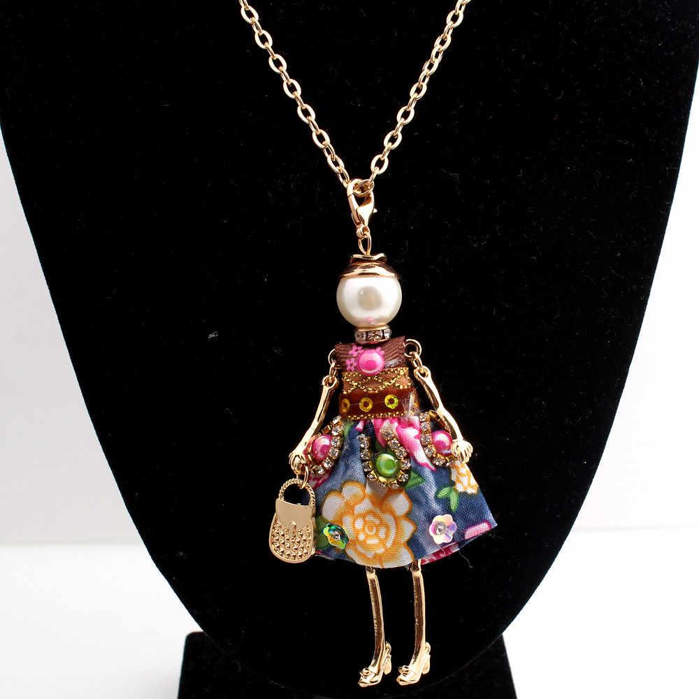 Очаровательное эффектное цветочное Кукольное Ожерелье Длинная цепочка из золота платье ручная работа французская кукла кулон новости сплав Девушки Женщины Мода ювелирные изделия