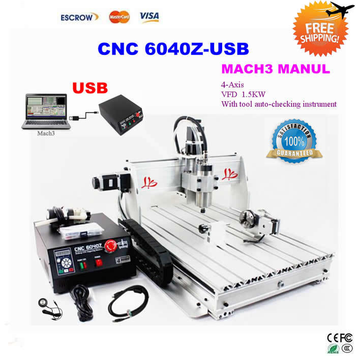 Free Shipping! 4 Axis USB Milling Machine CNC 6040 Mach3 manual Router with 1500W VFD spindle and auto-checking tool, USB port cnc 5axis a aixs rotary axis t chuck type for cnc router cnc milling machine best quality