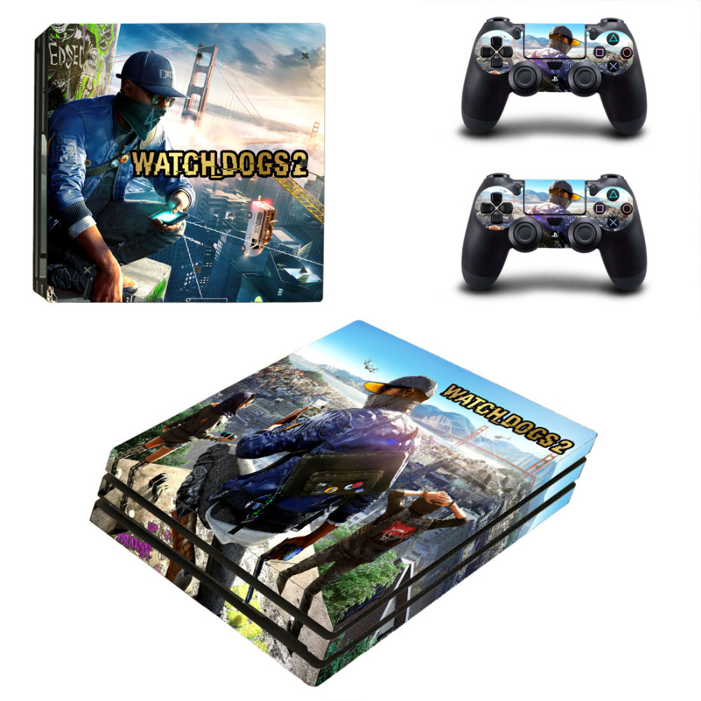 Watch Dogs 2 PS4 Pro Skin Sticker For Sony PlayStation 4 Console and Controllers PS4 Pro Skin Stickers Decal Vinyl