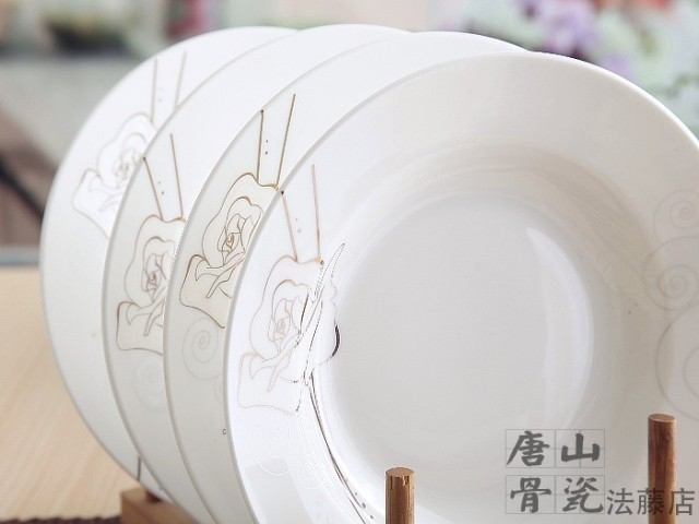 8 Inch Bone China Dishes And Plates Sets Gold Rose Designed Chinese Wedding Charger Dish White Ceramic In From Home Garden On