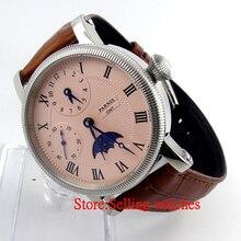 Парнис 43 мм Роскошный Белый Циферблат Механическая GMT часы кожаный ремешок Ручной Обмотки 6497 мужские Часы