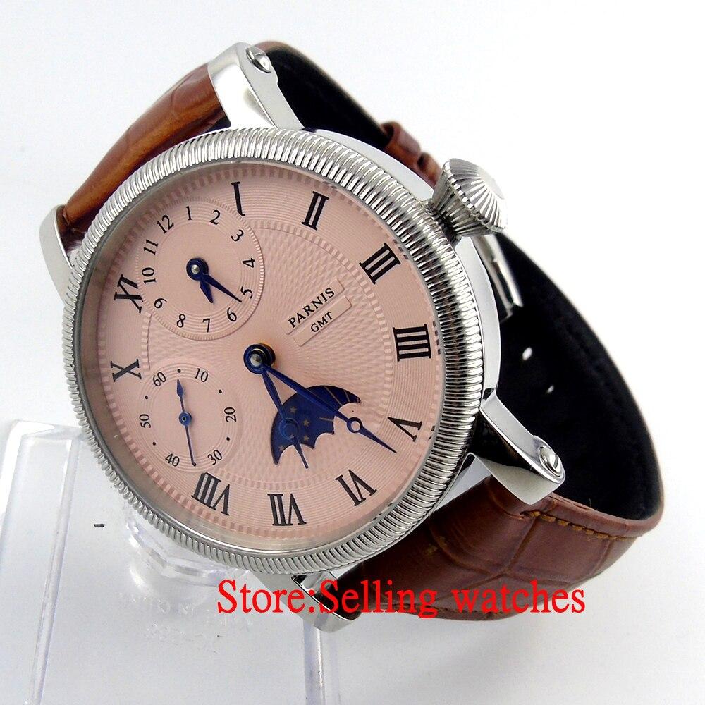Parnis 43mm luksusowe biały Dial mechaniczny zegarków GMT skórzany pasek ręcznie nakręcany 6497 mężczyzna zegarek w Zegarki mechaniczne od Zegarki na  Grupa 1