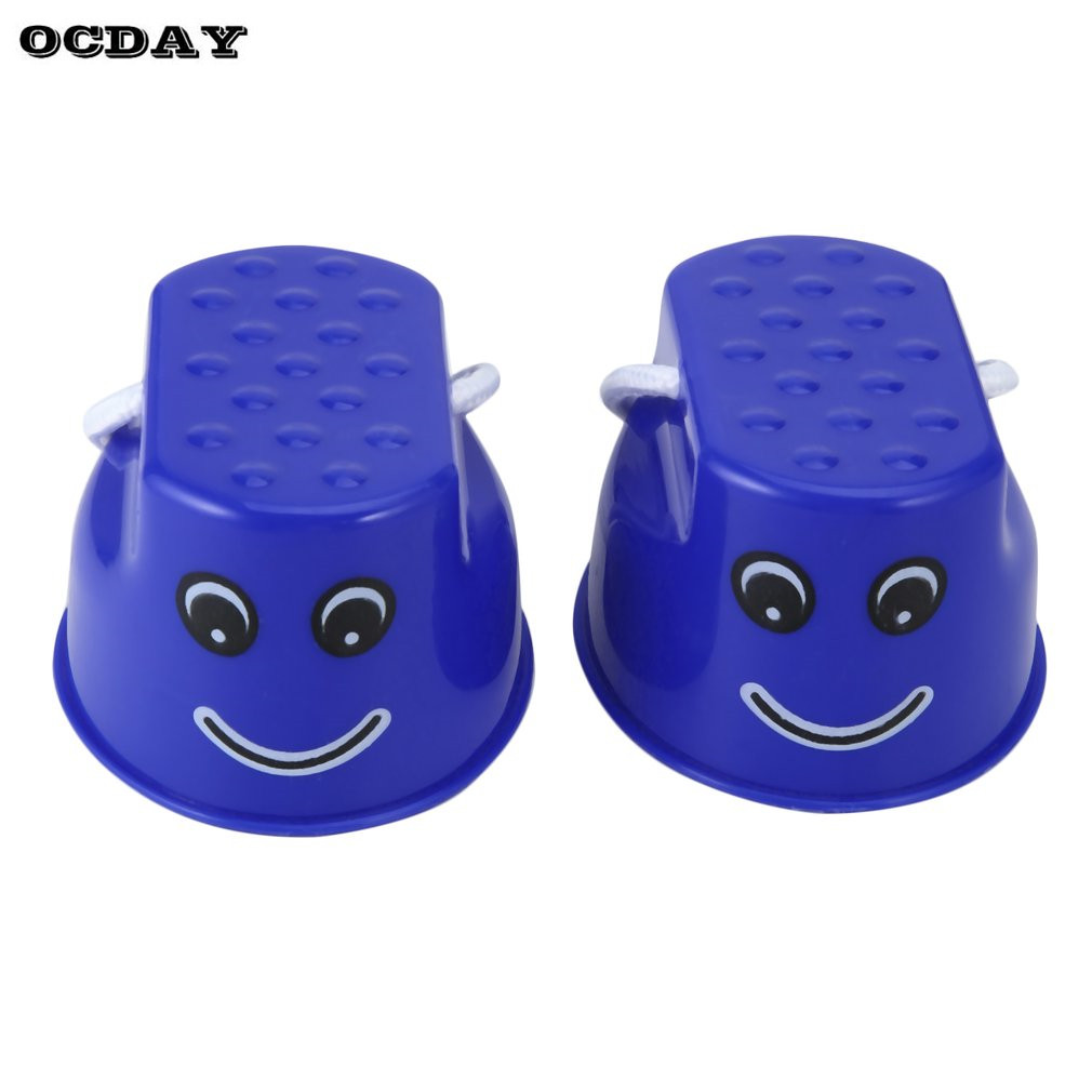 OCDAY 1pair 7 Colors Walk Stilt Jump Toy Plastic Smile Face Pattern Children Outdoor Fun Sports Balance Training Toy Best Gift
