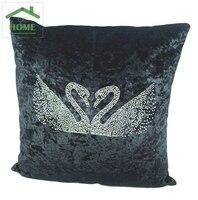 2016 di Lusso di Strass di Velluto Nero Viola Rosso Cigni Pillow Case di Moda Cuscino del Divano/Matrimonio regalo casa decorazione 45*45 cm