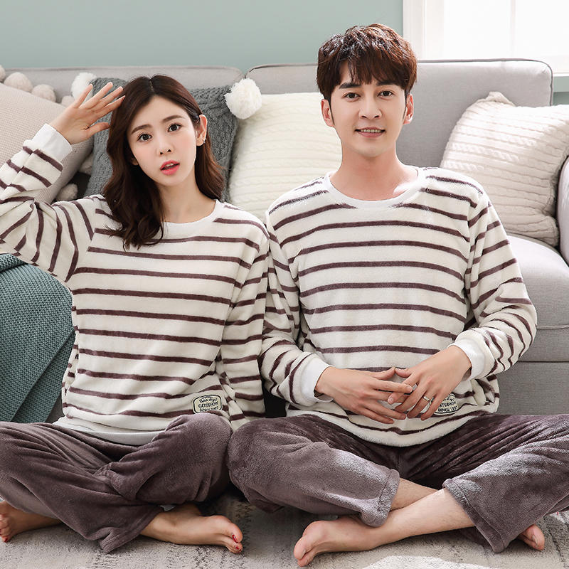 Winter Couples Casual Striped Thick Warm Flannel Pajamas Sets Women Long Sleeve Coral Velvet Pyjamas Men Sleepwear Homewear