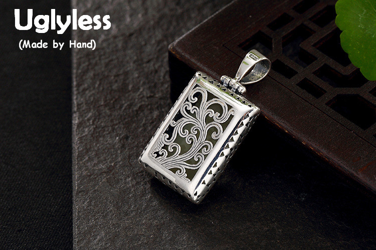 Real 925 Sterling Silver Natural Jade Women Vintage Square Pendants without Chains Engraved Grass Fine Jewelry Handmade