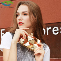 Mystic River Handbags Women Metal Clutches Top Quality Hexagon Mini Party Black Evening Purse Silver Bags