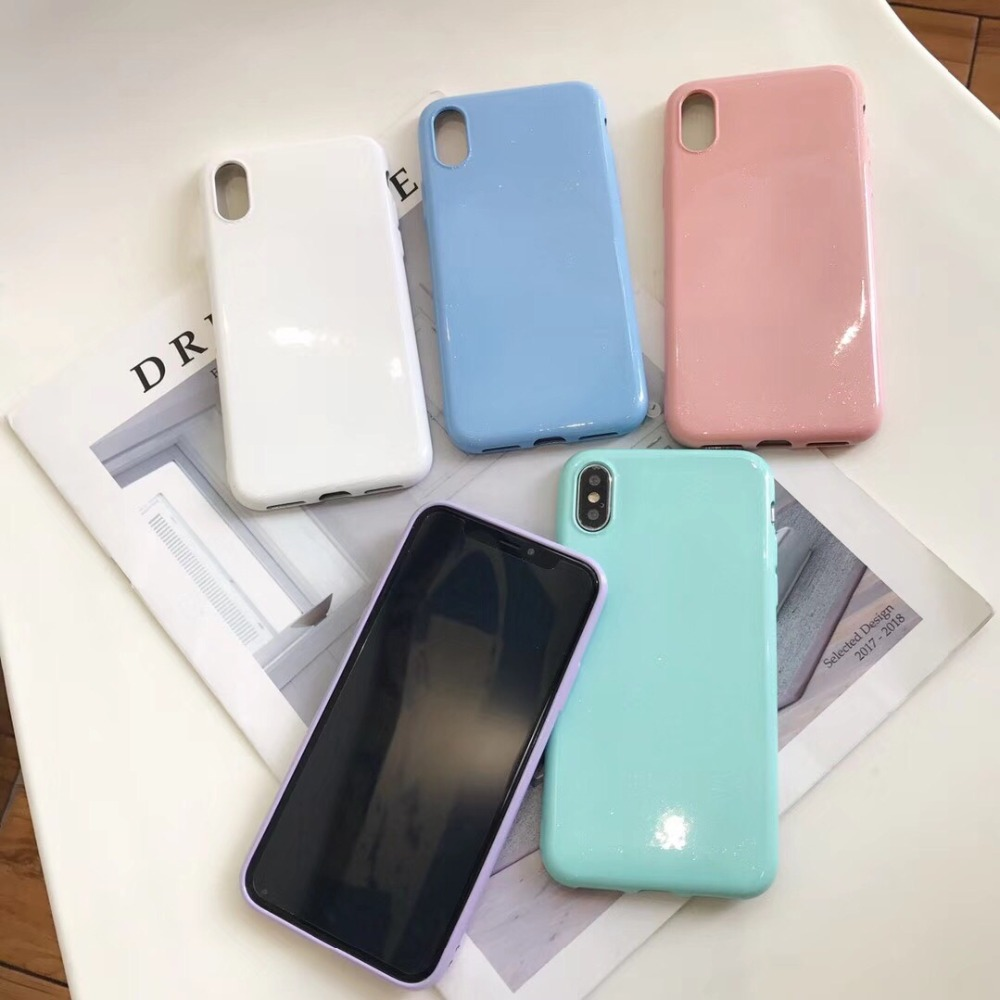2PCS Plain Ultra Thin Soft TPU Case Candy Color Back Cover For Iphone X XS 6S 8 7 Plus Vivo X20 Plus X21 OPPO R9 Plus R11 R15