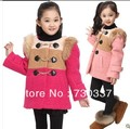 Free shipping winter girl outerwear candy color girl warm collars with thick coat children clothing