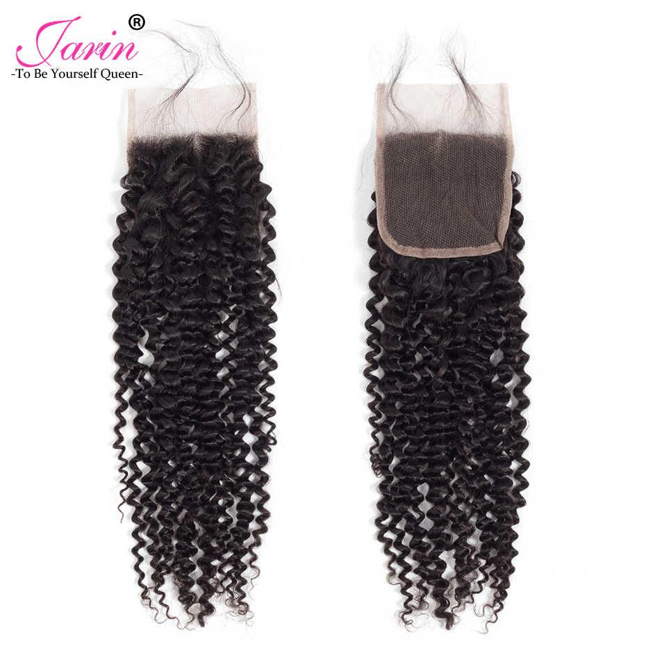 Товары для волос Jarin, индийские человеческие волосы, кудрявые, 4 пряди, с закрытием, кудрявые волосы, плетение с 4*4, закрытие шнурка, 5 шт., Remy