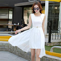 Color blanco Negro atractivo de La Gasa vestido de niña de verano de Las Mujeres Una línea de Oficina Vestido de Las Mujeres Elegantes Del Partido para la muchacha vestido de la reunión
