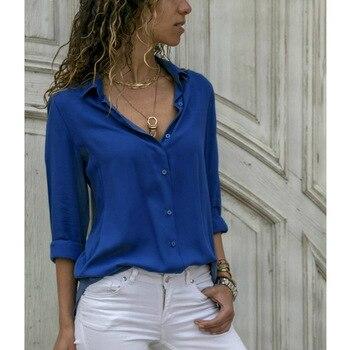 Soild Women Shirt 2019 Spring Autumn Casual Chiffon Blouse Long Sleeve Deep V Neck Button Office Work Wears Top Plus Size S-XXXL 2