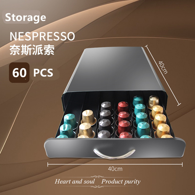 Nespresso Drawer 30/40/60  Capsules Nespresso  Coffee Pod Holder Stand Kitchen Metal Shelves Organization Drawer Free Shipping
