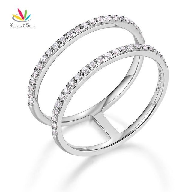 Peacock Star 14k White Gold Wedding Ring Double Band 0 18 Ct Diamond