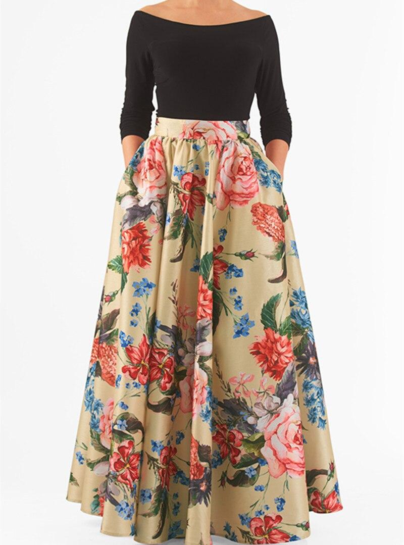 WBCTW Customize Made Women Plus Size Skirt Fashion Ball Gown Style XXS 10XL High Waist Maxi Long 2019 Spring Flower Print Skirt