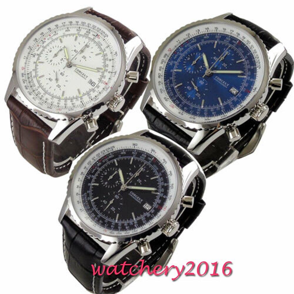 Nouvelle Montre hommes Hommes Chronographe Top Marque De Luxe Bracelet Date Solide Cas Corgeut mouvement À Quartz batterie Horloge bracelet En Cuir