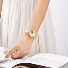WHITE LEATHER LEISURE FASHION BRAND LADIES WATCH GOLDEN ROUND LUXURY DIAMOND RING WATERPROOF SKELETON AUTOMATIC WOMEN WATCHES