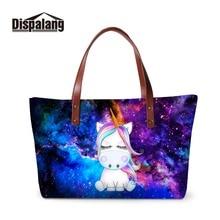 Galaxy Summer Handbag for Girls Unicorn Printing School Hand Bag Large Shoulder Pattern Cute Tote Women Shopping