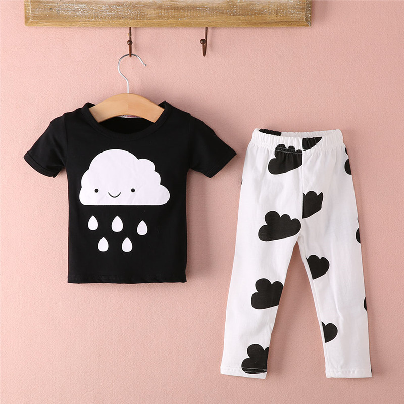 Children Baby Clothes Sets Cute Organic Boys Infant Outfits Cartoon Cloud Rain t-shirts + Pants Leggings Set Clothes Suit 2 Pcs