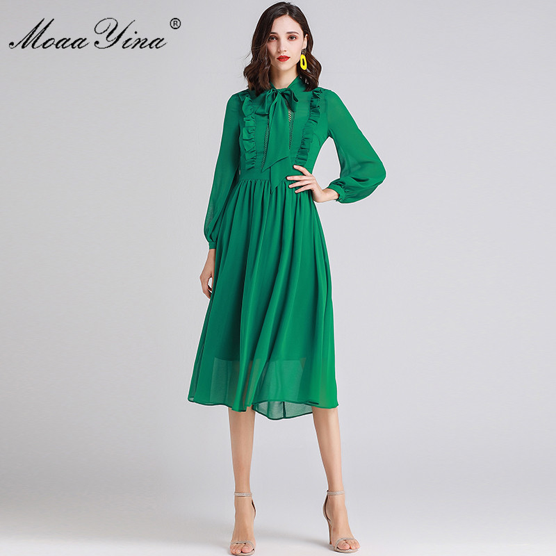 MoaaYina Fashion Designer Runway dress Spring Summer Women Dress Bow collar Ruffles Long sleeve Slim Elegant